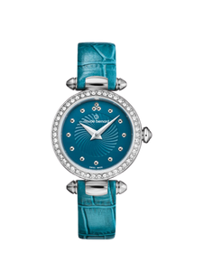 20209 3 BUPIN Ladies Silver Blue Small Face Watch Leather Strap
