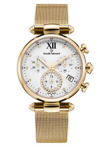 Claude Bernard 10216 37R APR1 Gold White Lady Chronograph