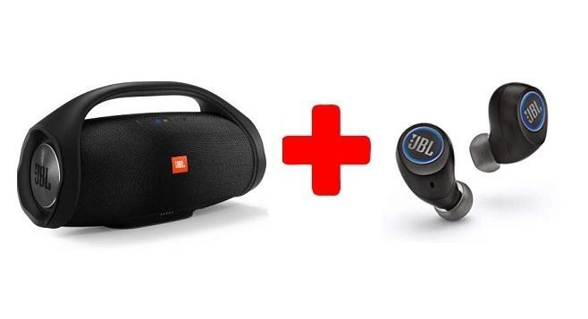 A JBL Boombox Bluetooth Party Speaker with Wireless in-Ear Headphones Combo