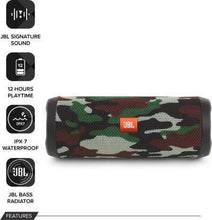 Load image into Gallery viewer, JBL Flip 4 16 W Portable Bluetooth Speaker  (Squad, Stereo Channel)