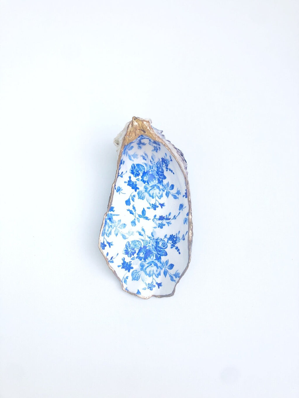 Blue Flowers Oyster Shell