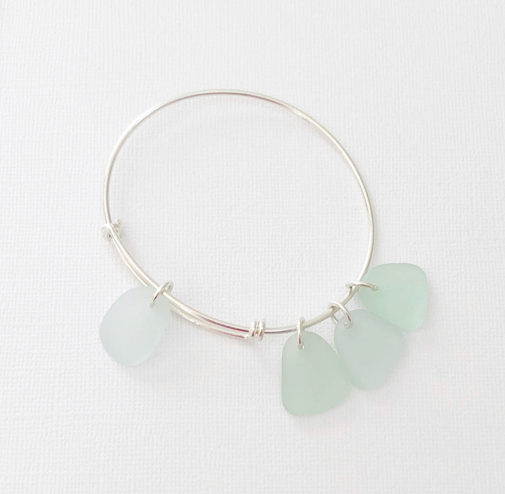 Sterling silver sea glass bangle