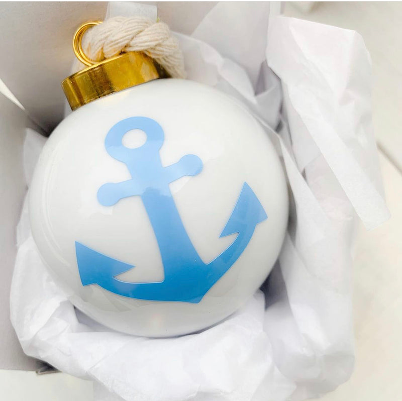 Blue pink anchor ornament