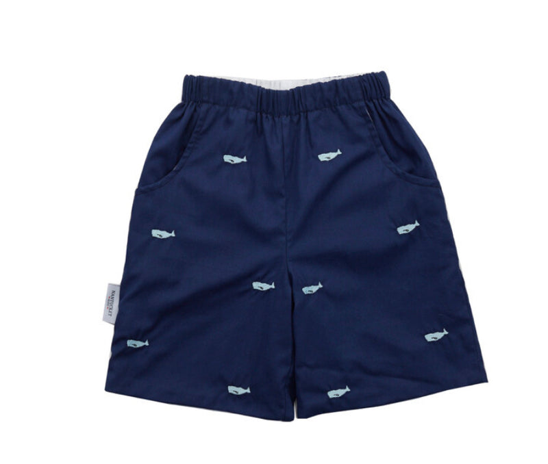 Whale Watch Embroidered Shorts