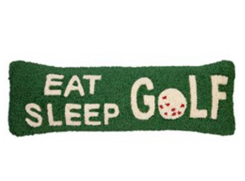 Eat sleep golf hook pillow