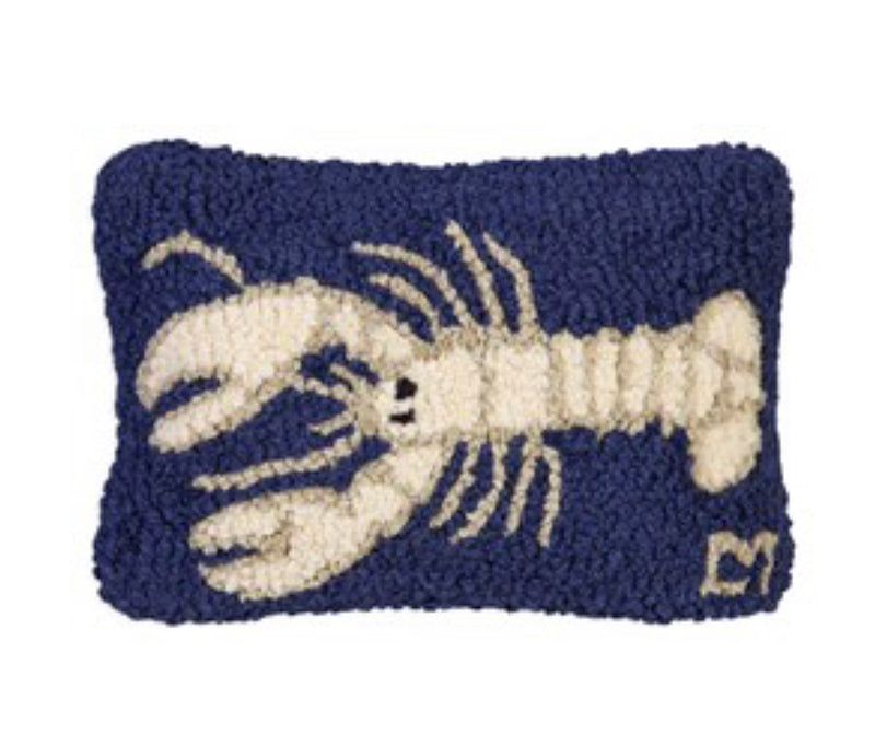 White Lobster on Navy Pillow