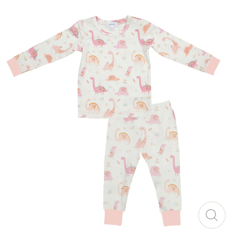 Pink dinosaur two piece pajamas