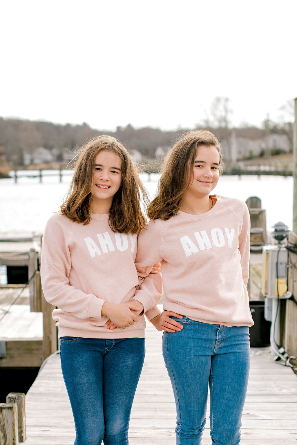 You, Me & The Sea pink ahoy crewneck