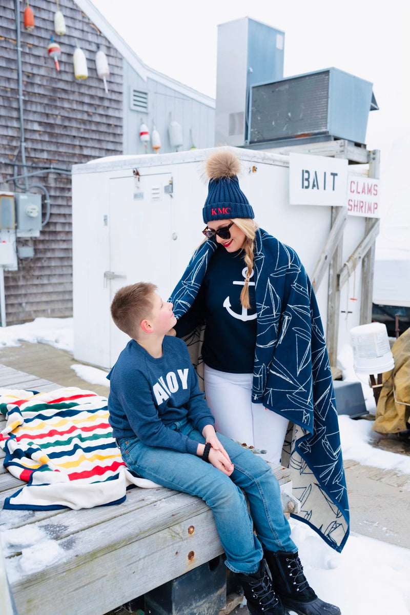 You, Me & The Sea navy unisex anchor crewneck