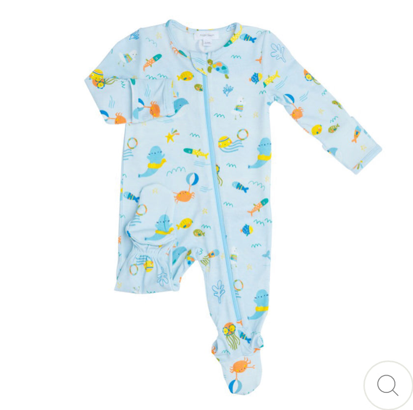 Angel dear sea creatures zipper footie