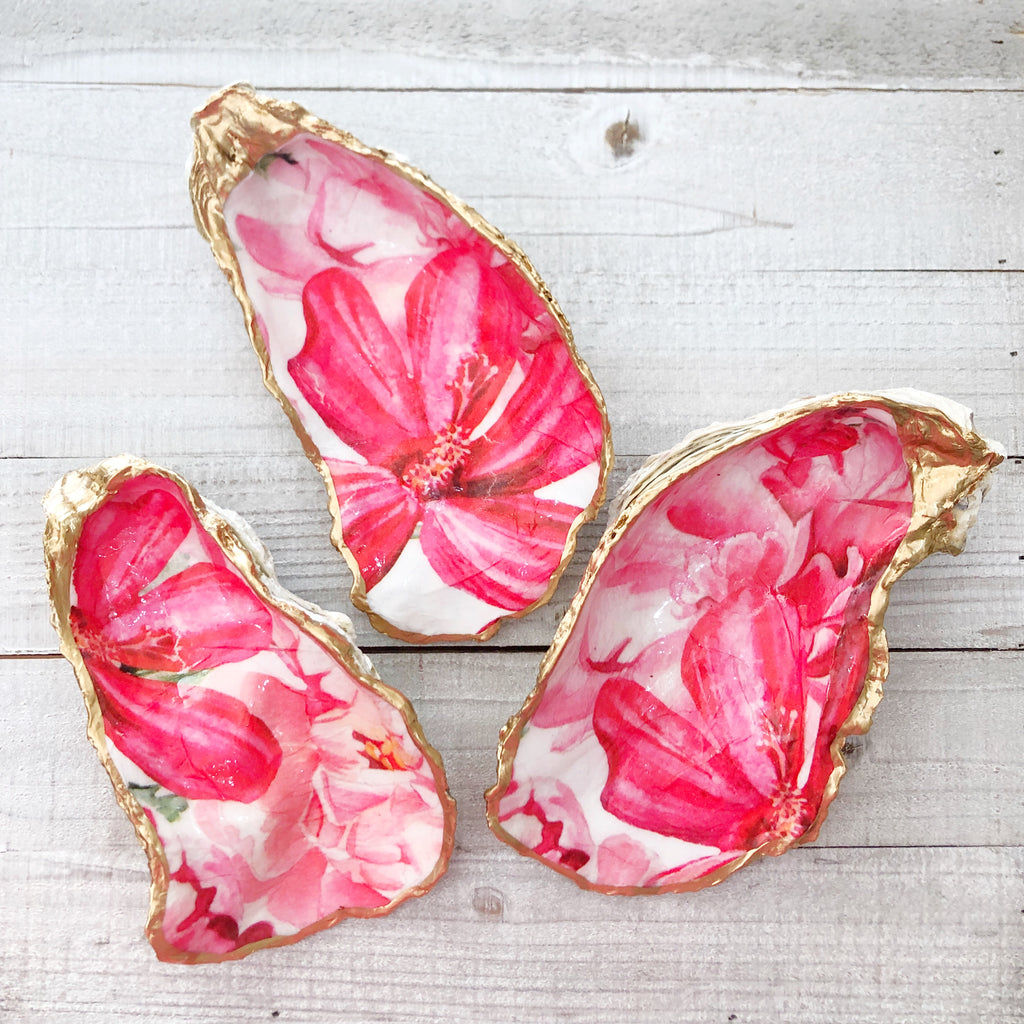Bright Pink Flowers Oyster Shell Ring Dish