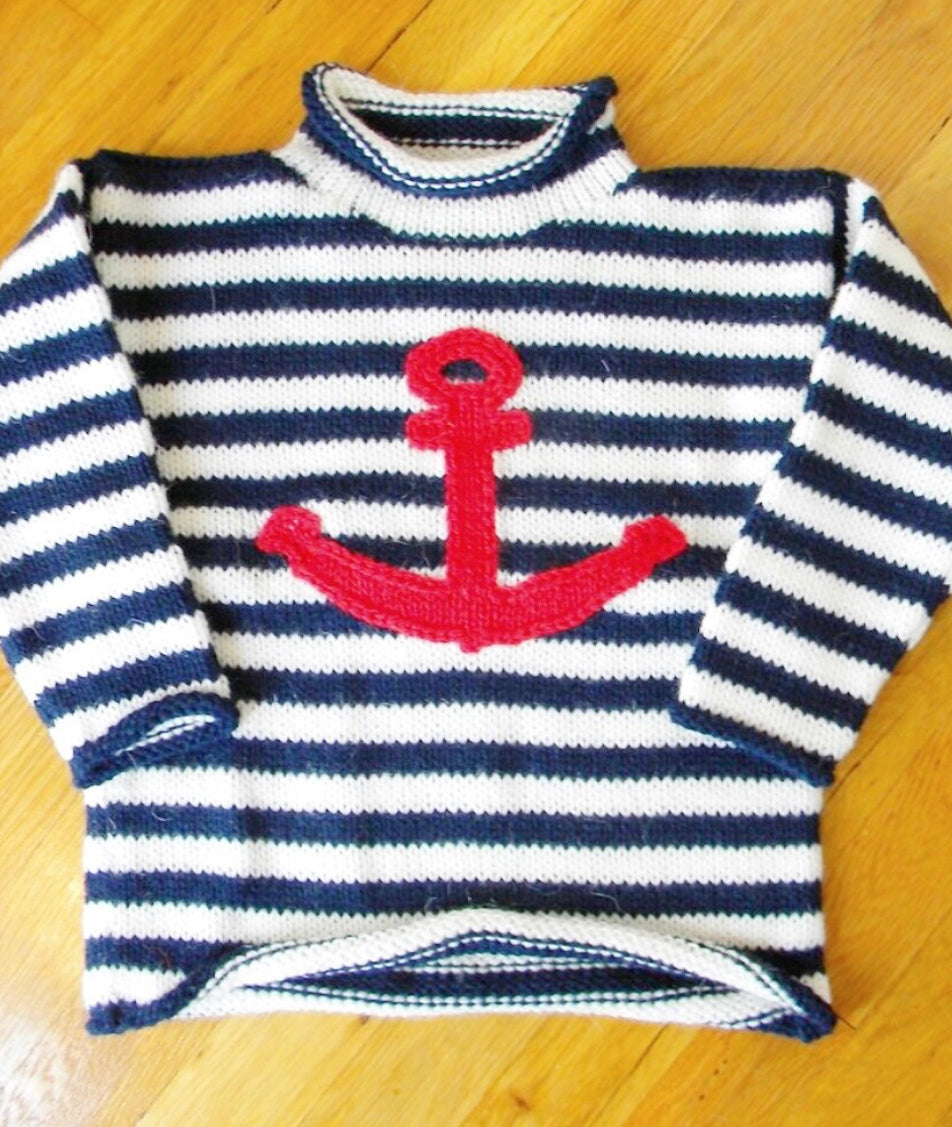 Navy White Stripe Anchor Sweater