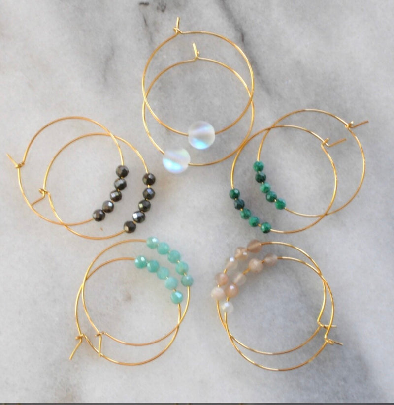 Small Gemstone Hoops
