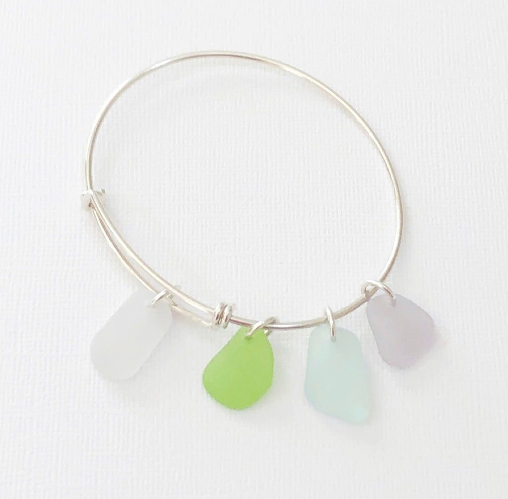 Newport sterling silver sea glass bangle