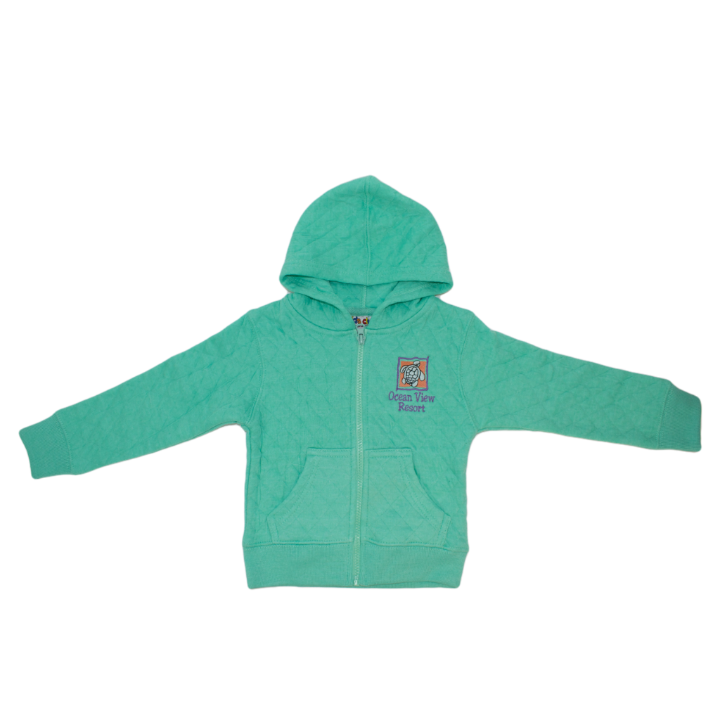 Toddler Diamond Quilted Hooded Jacket (Honeydew)