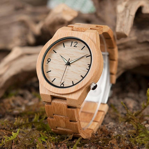 Round Bamboo Wood Watch