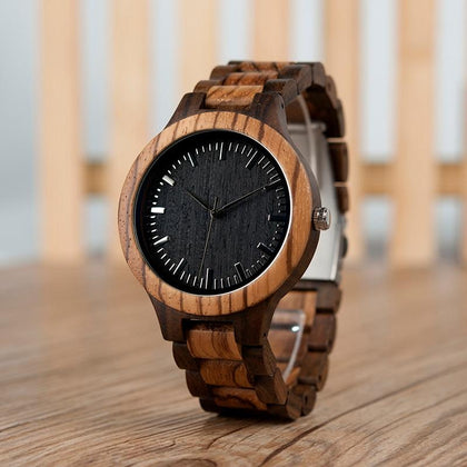 Round Oak Wood Watch