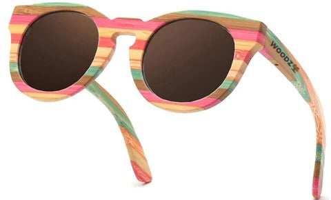 Oval Retro Color Bamboo Wood Sunglasses