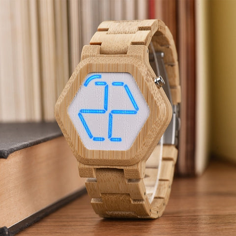 Digital Hexagon Bamboo Wood Watch