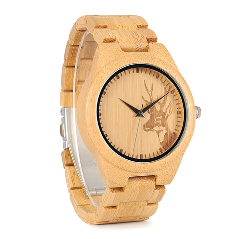 Round Deer Bamboo Wood Watch