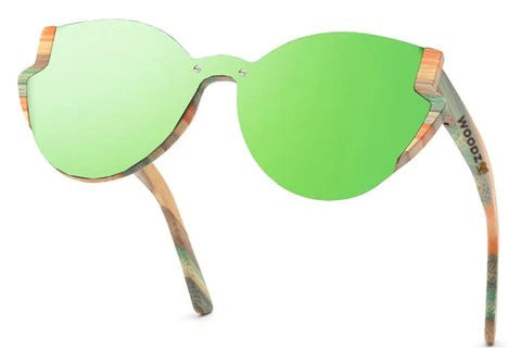 Goggle Cat Eye Color Bamboo Wood Sunglasses
