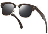 Semi-Rimless Pilot Walnut Wood Sunglasses