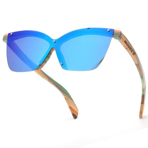 Frameless Cat Eye Color Bamboo Wood Sunglasses