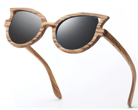 Butterfly Cat Eye Zebra Wood Sunglasses