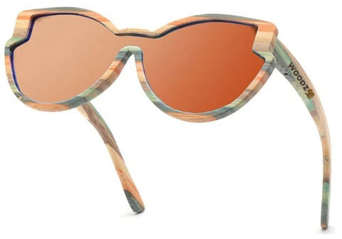 Vintage Goggle Cat Eye Color Bamboo Wood Sunglasses