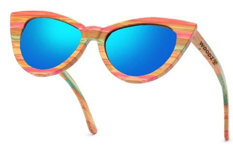 Oversized Cat Eye Color Bamboo Wood Sunglasses