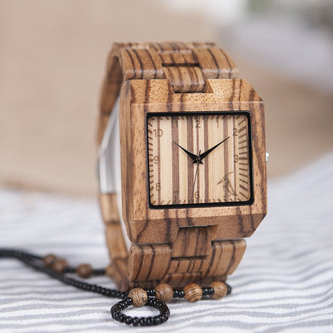Square Oak Wood Watch