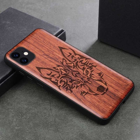 Wood iPhone Case with Laser Engraved (Wolf)