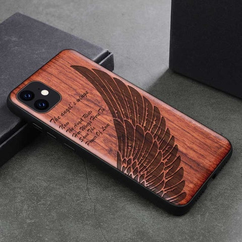Wood iPhone Case with Laser Engraved (AngelWing)