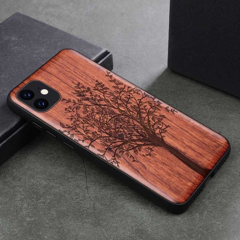 Wood iPhone Case with Laser Engraved (Tree)