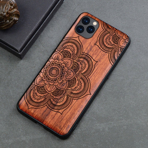Wood iPhone Case with Laser Engraved (Flower)