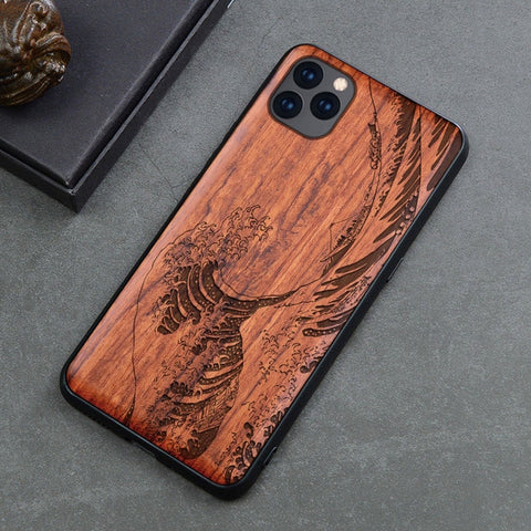 Wood iPhone Case with Laser Engraved (Waves)