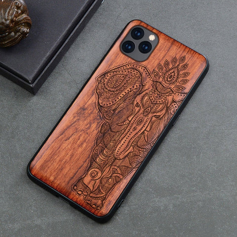 Wood iPhone Case with Laser Engraved (Elephant)