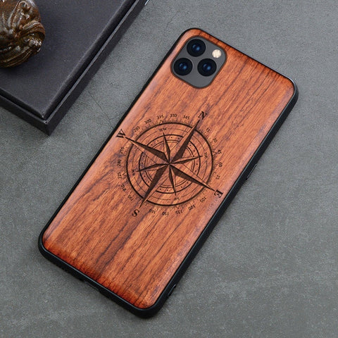 Wood iPhone Case with Laser Engraved (Compass)