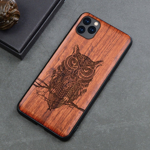 Wood iPhone Case with Laser Engraved (Owl)