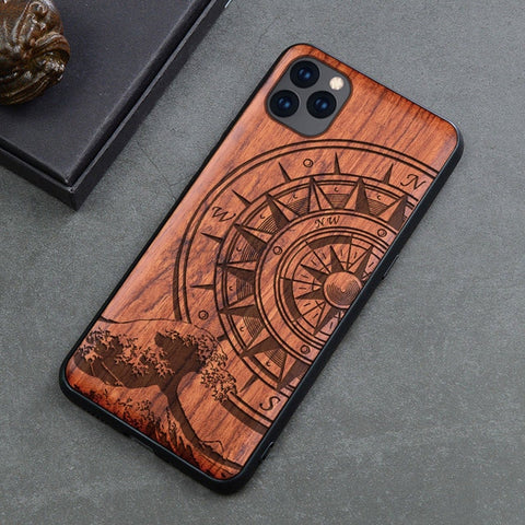 Wood iPhone Case with Laser Engraved (Compass2)
