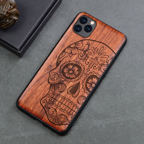 Wood iPhone Case with Laser Engraved (Skull)
