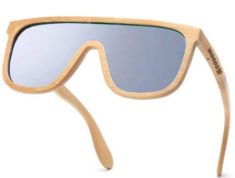 Rectangle Goggle Bamboo Wood Sunglasses