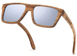 Vintage Rectangle Zebra Wood Sunglasses