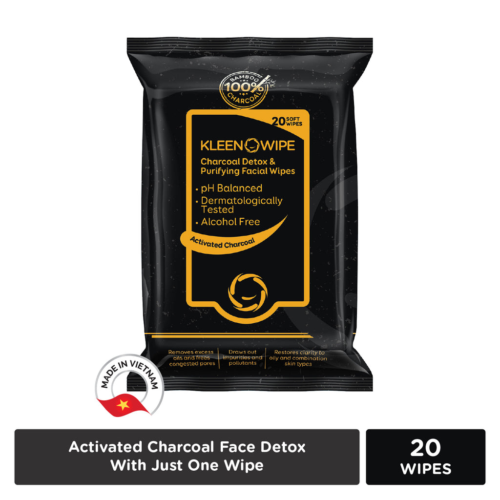 KLEENOWIPE Activated Charcoal Detox Facial Wipes