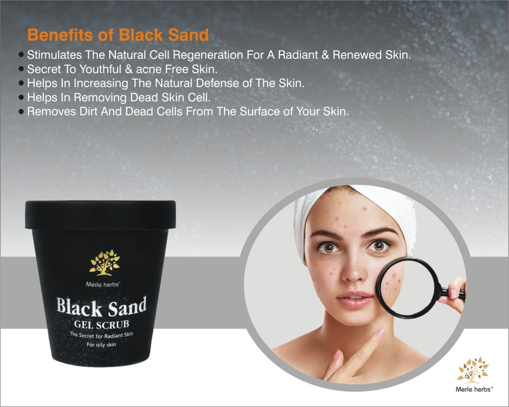 Merle Herbs Black Sand Gel Scrub (For Oily and Combination Skin)