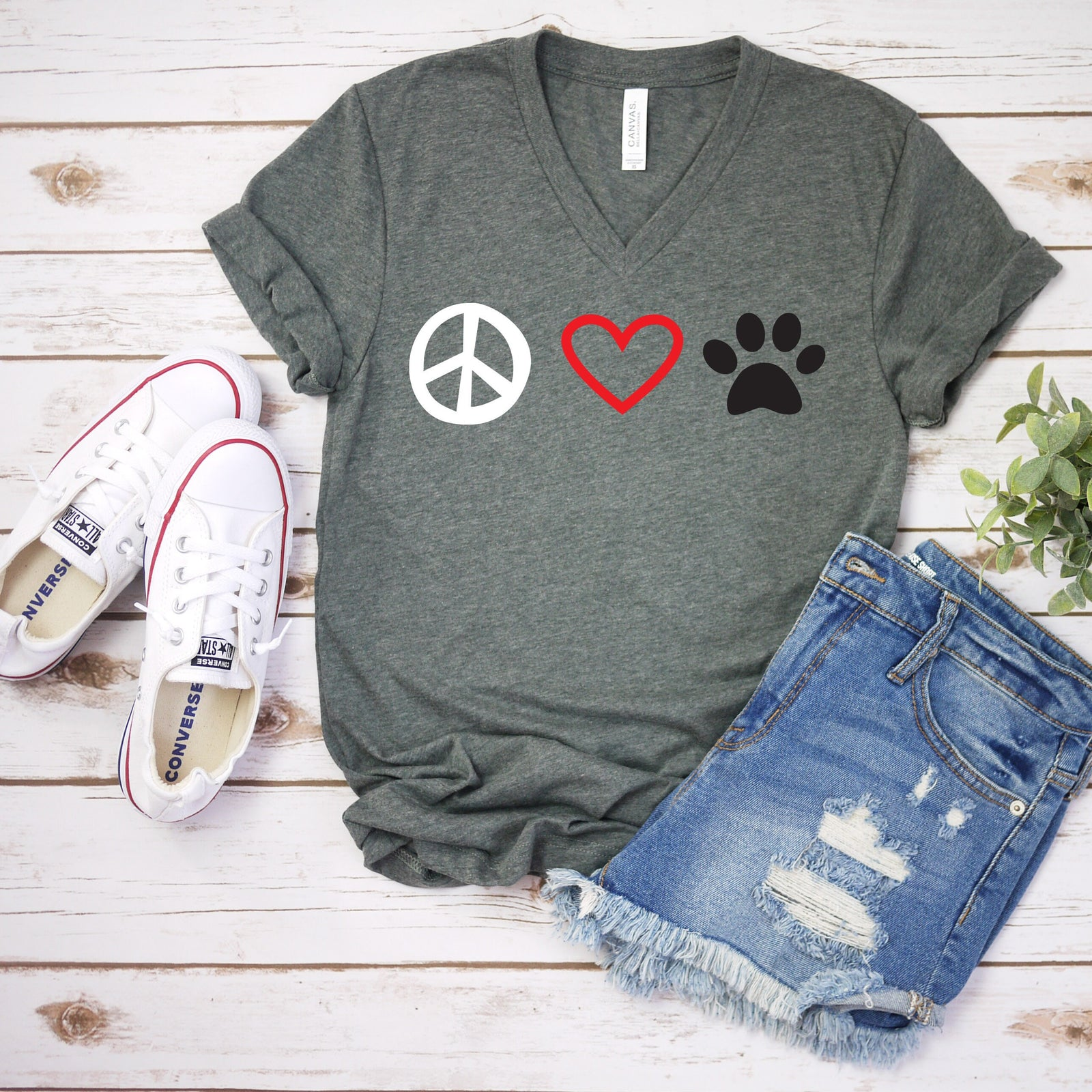 Peace Love Paw T Shirt - Dog Lover - Pet Rescue T Shirt - Dog Mom Shirt Gift