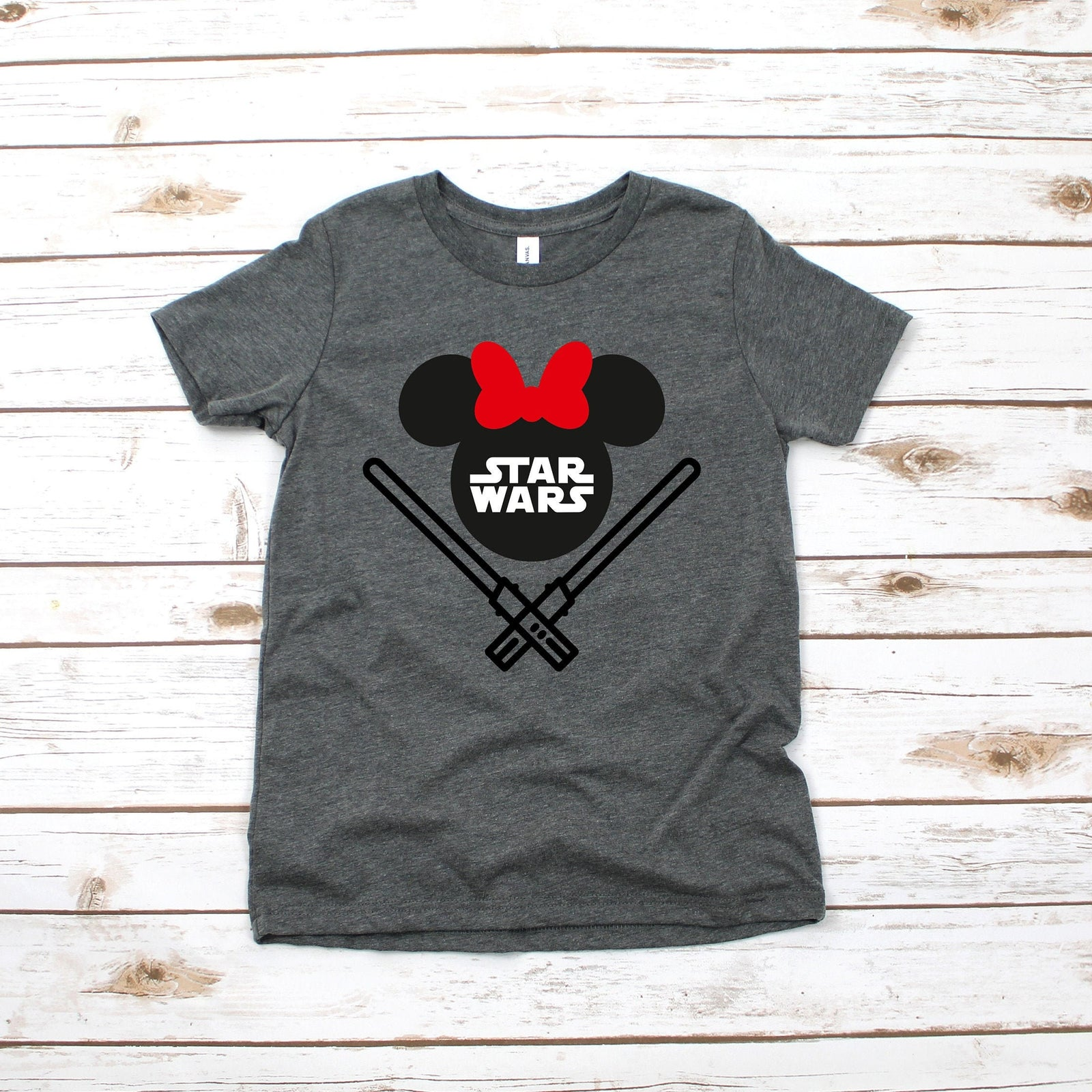 Star Wars Minnie Mouse Youth T Shirt - Disney Kids T Shirts - Star Wars Family Matching Shirts