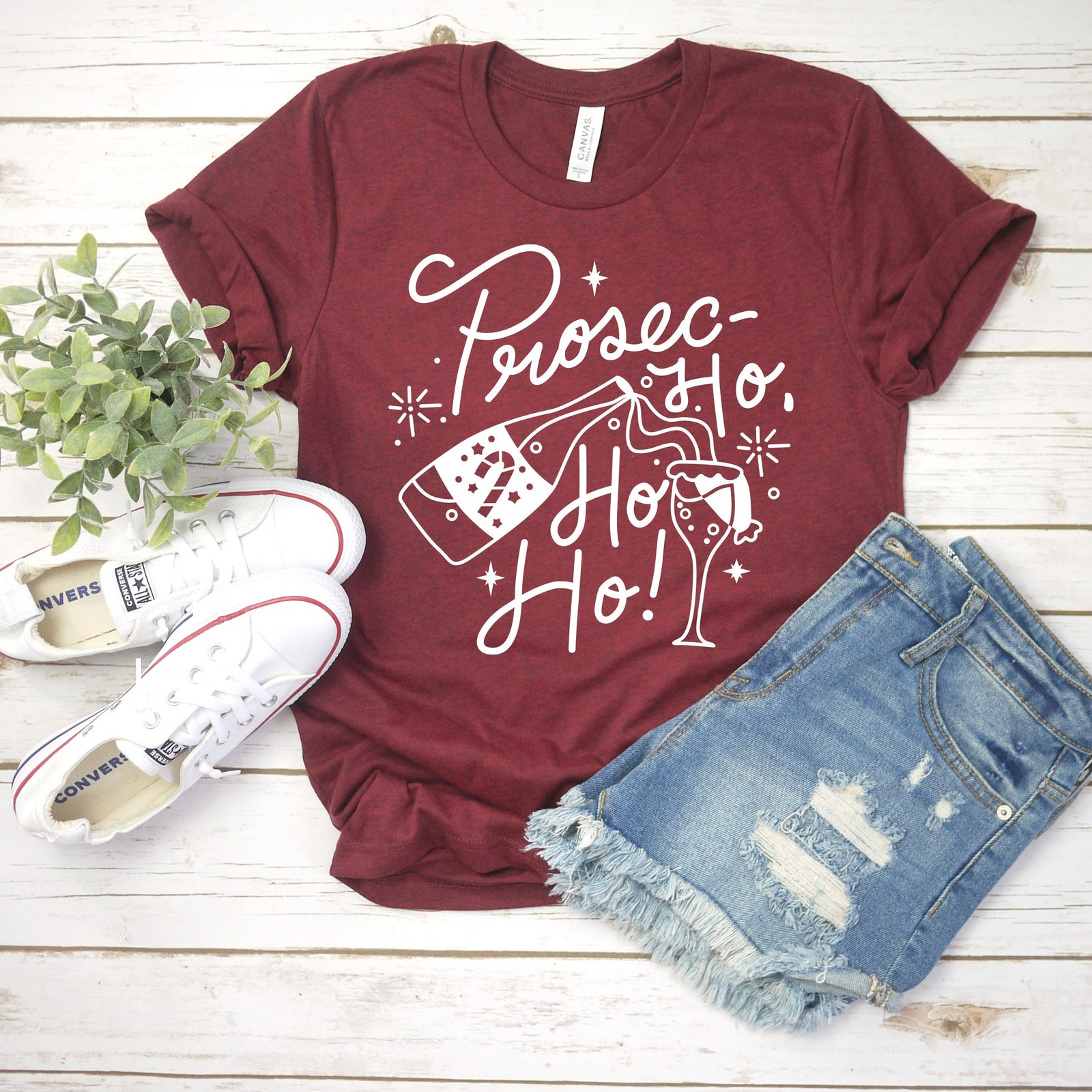 Prosec Ho Ho Ho Christmas T Shirt - Funny Wine Lover Gift - Christmas Party Couple Shirts - Prosecco Tee