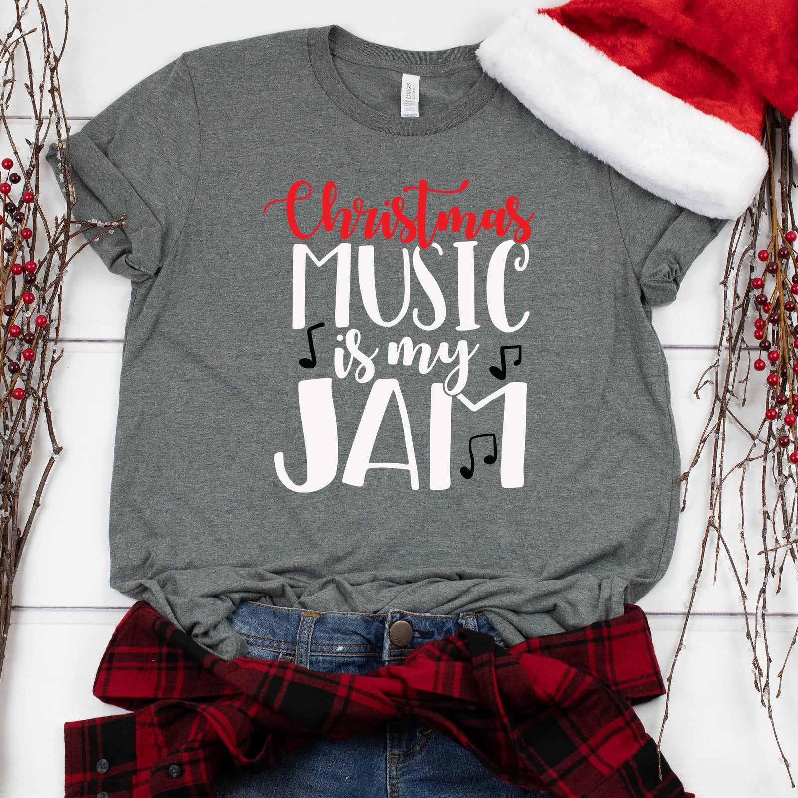 Christmas Music is My Jam Unisex T Shirt - Funny X-Mas Couple Shirt - Believe in the Spirit of Christmas