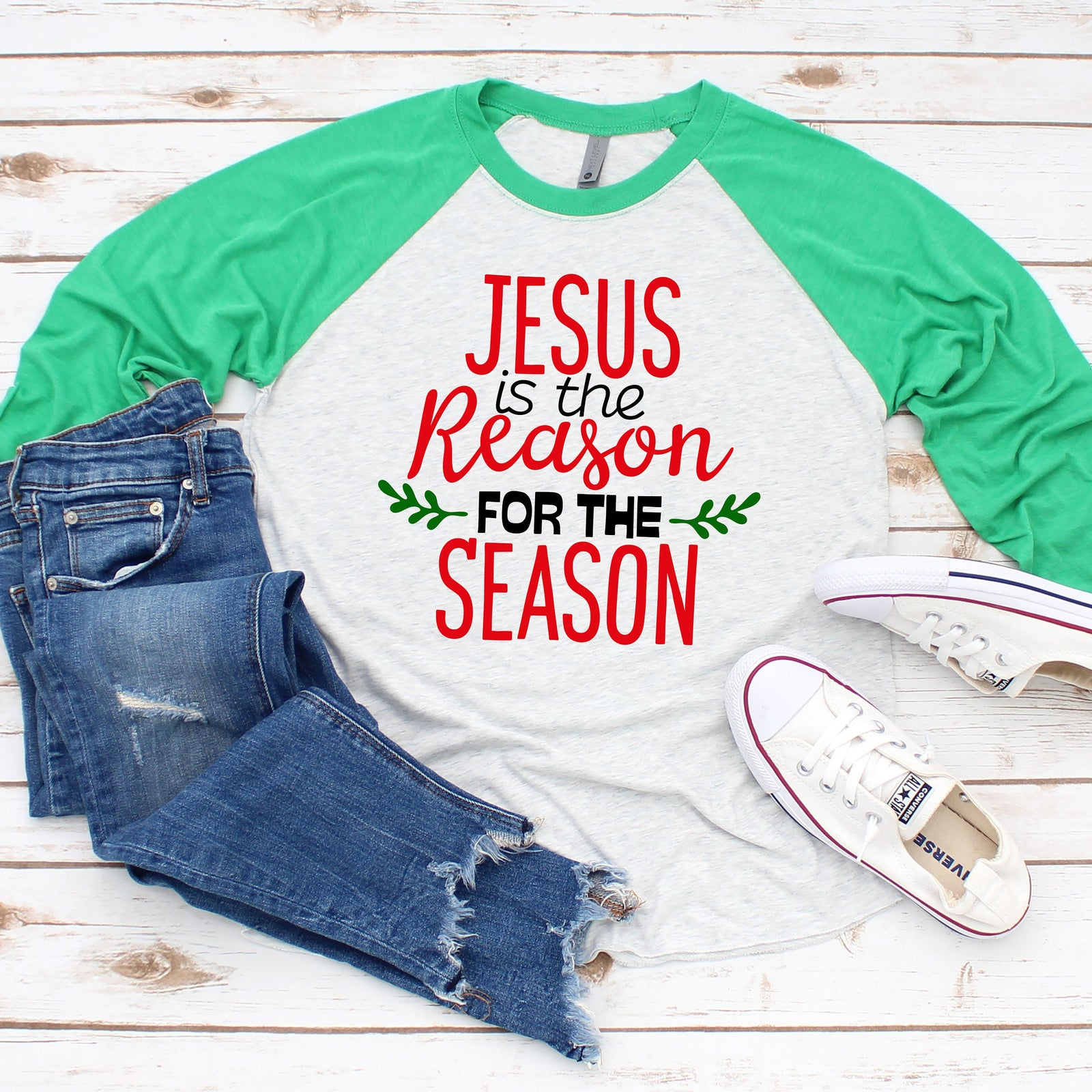 Jesus is the Reason for the Season- Raglan T Shirt- Christmas 3/4 sleeve - Religious T Shirt Gift
